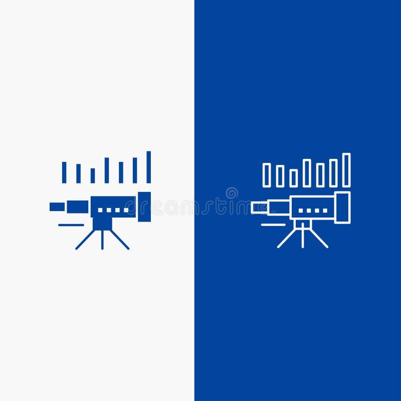 Symbol för linje och för skåra för baner för fast symbol för teleskop, för affär, för prognos, för beräkning, för marknad, för tr vektor illustrationer