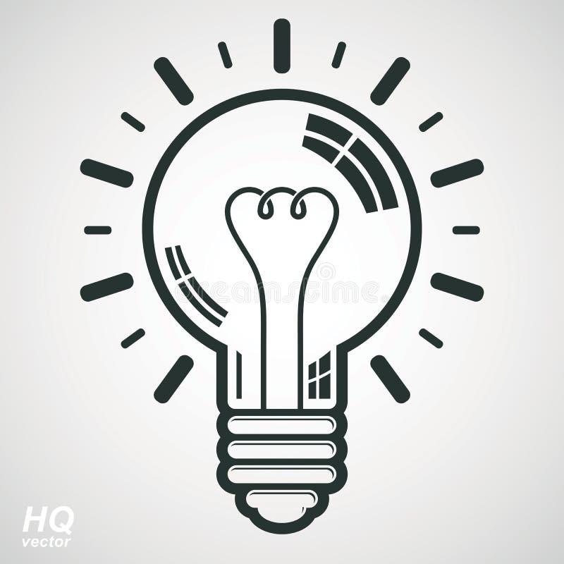 Symbol för ljus kula för elektricitet på vit bakgrund Begreppsmässig symbol för vektorhjärnstorm - företags problemlösningstema vektor illustrationer