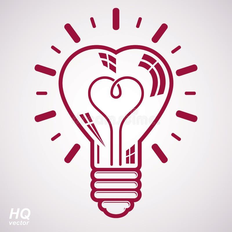 Symbol för ljus kula för elektricitet som isoleras på vit bakgrund royaltyfri illustrationer