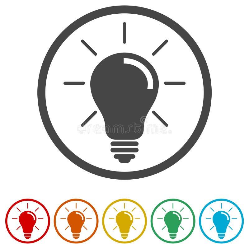 Symbol för ljus kula, lampsymbol, 6 inklusive färger royaltyfri illustrationer