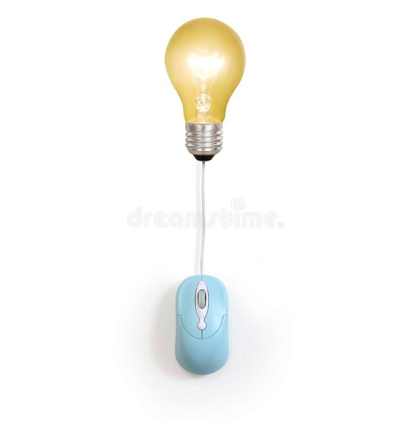 Symbol för ljus kula med datormustecknet fotografering för bildbyråer