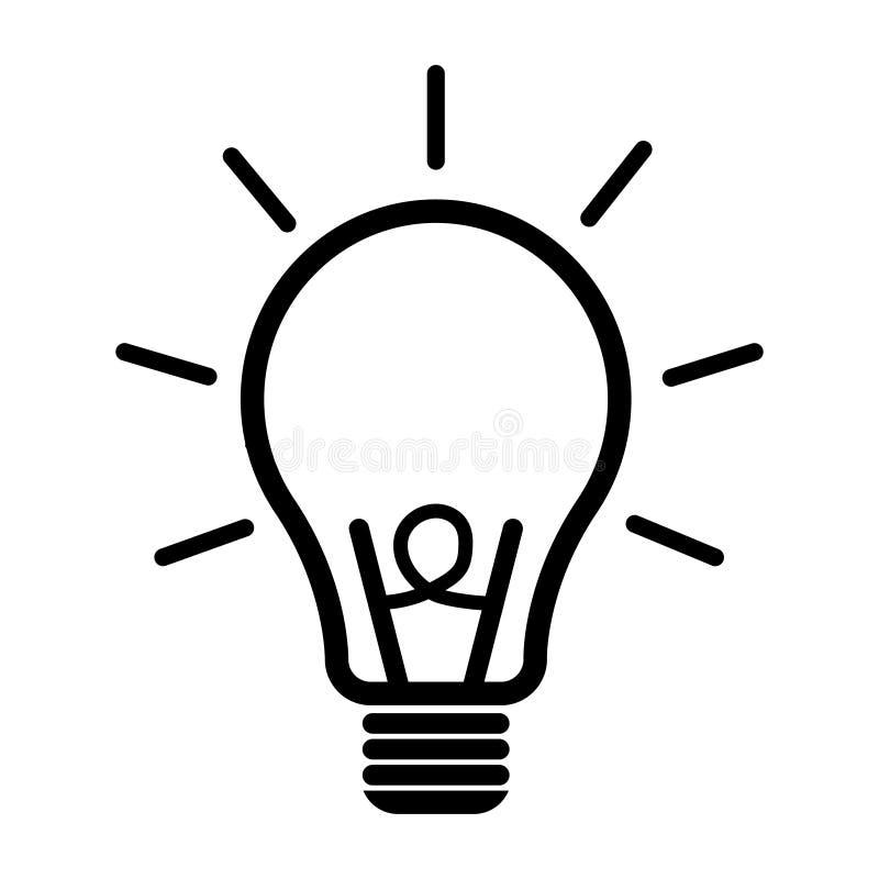 Symbol för ljus kula Plan vektorillustration för idé Symboler för designen, bakgrund, website royaltyfri illustrationer