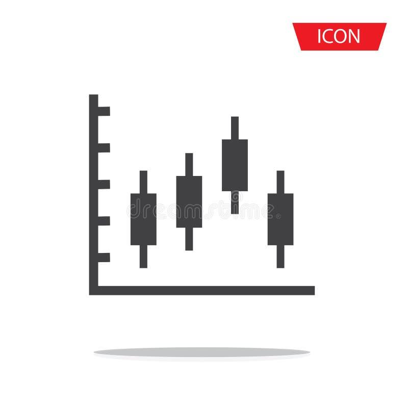 Symbol för ljusstakediagramvektor som isoleras på bakgrund stock illustrationer