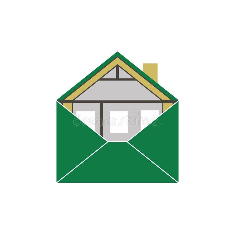 Symbol för logo för bild för kuvert för byggnad för husEco gräsplan symbolisk allegorical royaltyfria foton