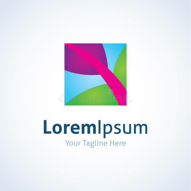Symbol för logo för blad för abstrakt begrepp för naturkanfaskonst färgrik royaltyfri illustrationer