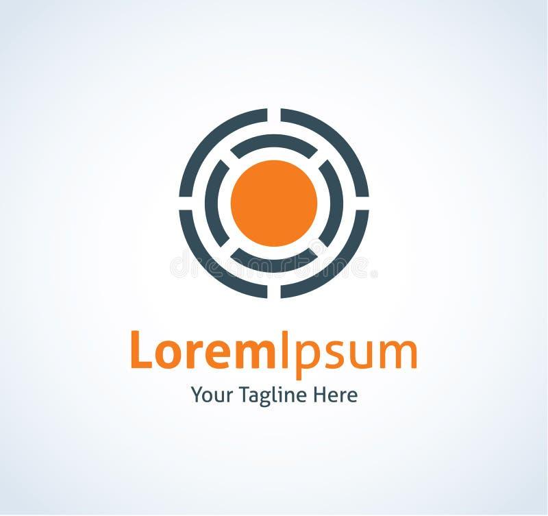 Symbol för logo för teknologi för kärnalabyrintöga stock illustrationer