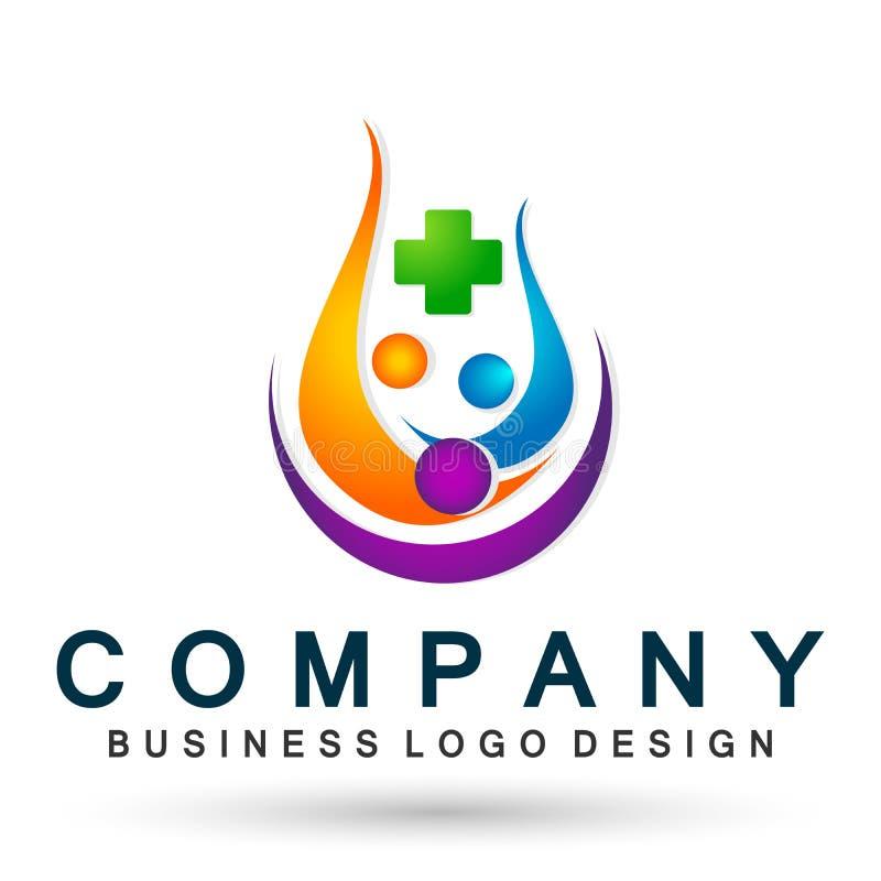 Symbol för logo för folkfamiljmedicinsk vård som tillsammans segrar symbol för wellness för framgång för lag för lyckahälsa vård- stock illustrationer