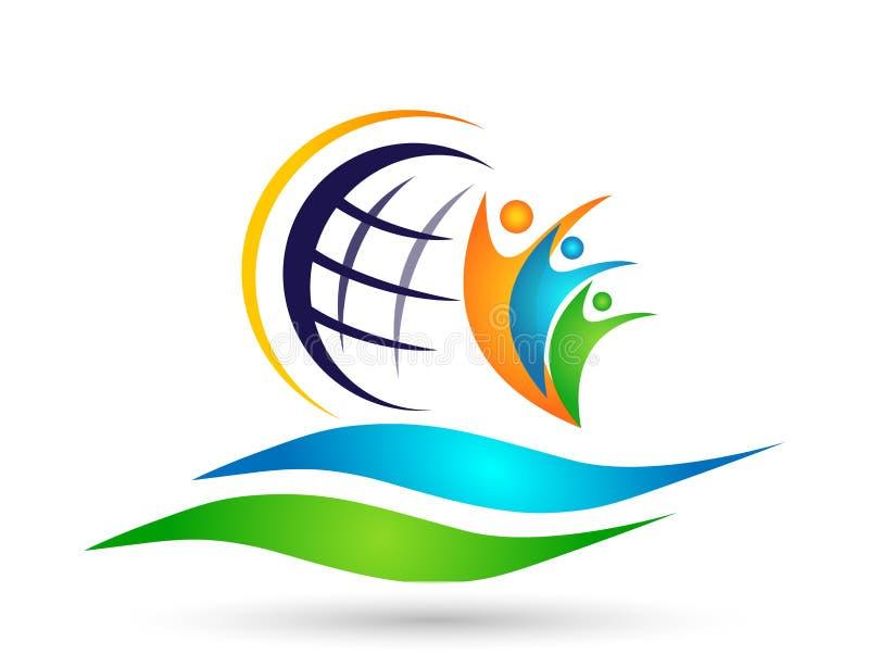 Symbol för logo för hav för jordklotfolksol som segrar för lagarbete för folk fackligt symbol för sommar för framgång för wellnes stock illustrationer