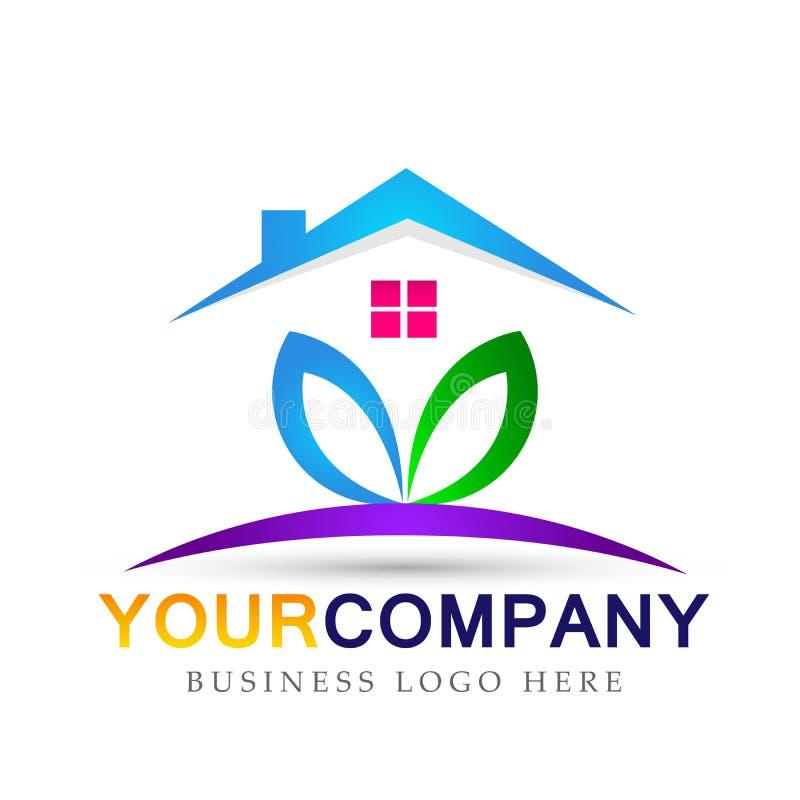 Symbol för logo för hem för hälsa för växt för folk för hus för fastighetbladnatur för företag på vit bakgrund stock illustrationer