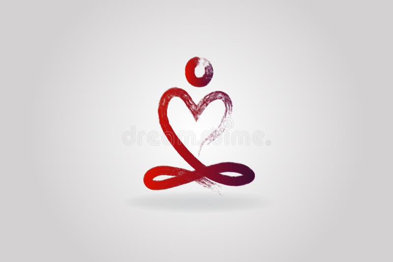 Symbol för logo för hjärta för yogamanförälskelse vektor illustrationer