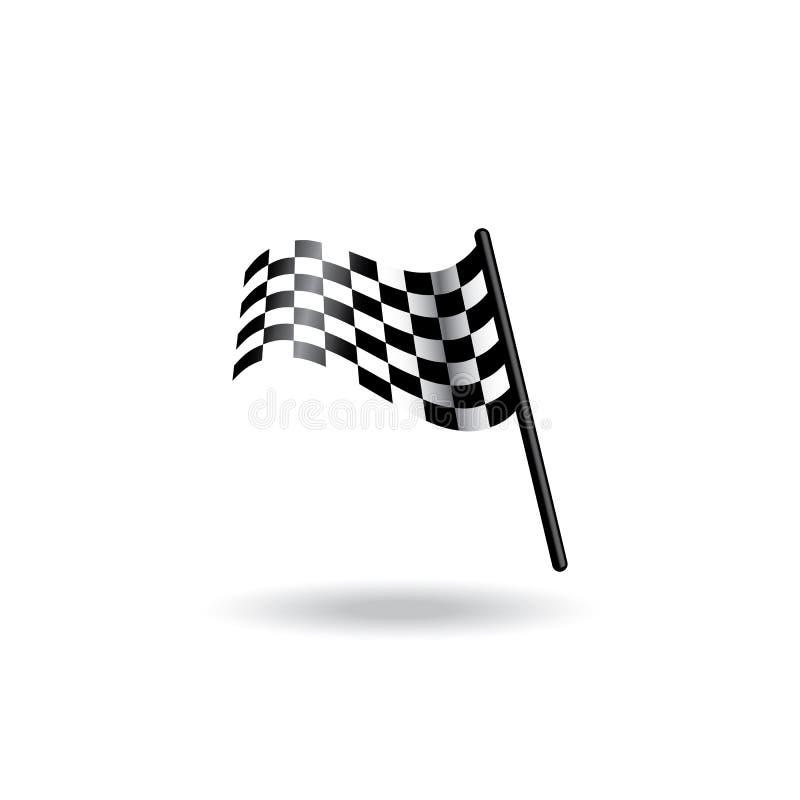 Symbol för symbol för loppflaggavektor för flaggalogo för enkel design rutig mall stock illustrationer