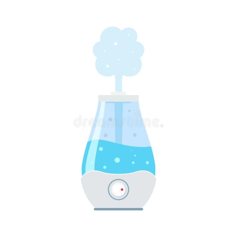 Symbol för luftfuktareluftdiffusor Ultraljuds- hem- plan symbol för reningsapparatmicroclimate, sund fuktighet vektor illustrationer