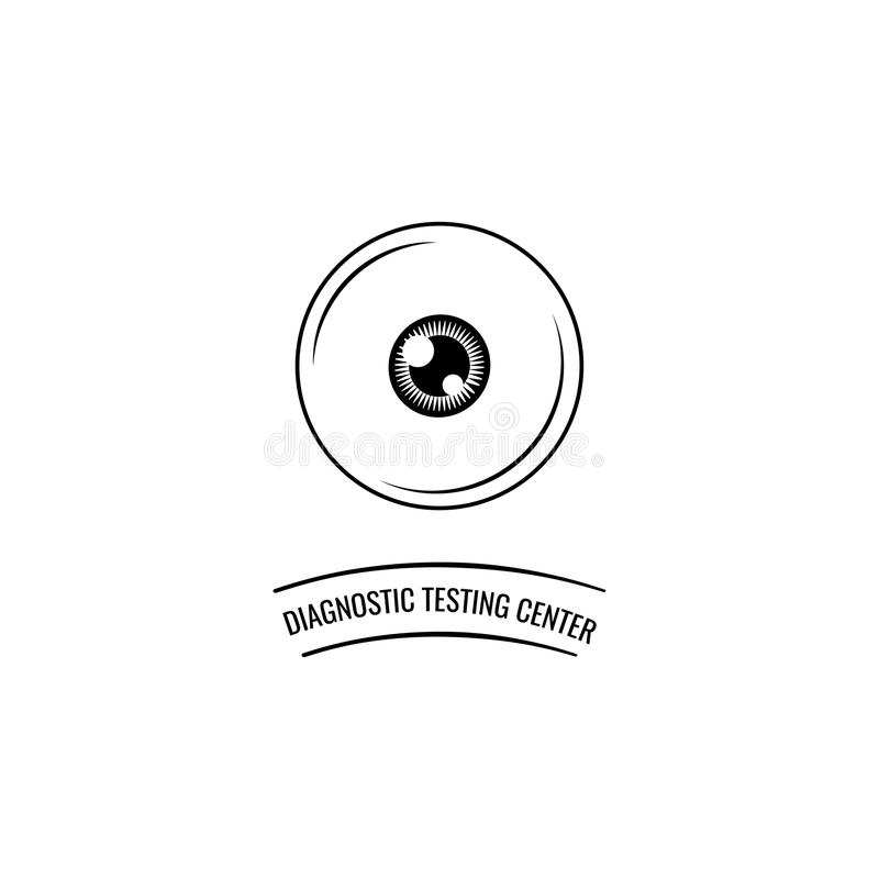 Symbol för mänskligt öga Optisk kliniketikett, logo Diagnostisk provningsmitt vektor royaltyfri illustrationer