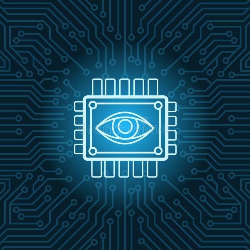 Symbol för mänskligt öga på Chip Over Blue Circuit Motherboard bakgrund vektor illustrationer