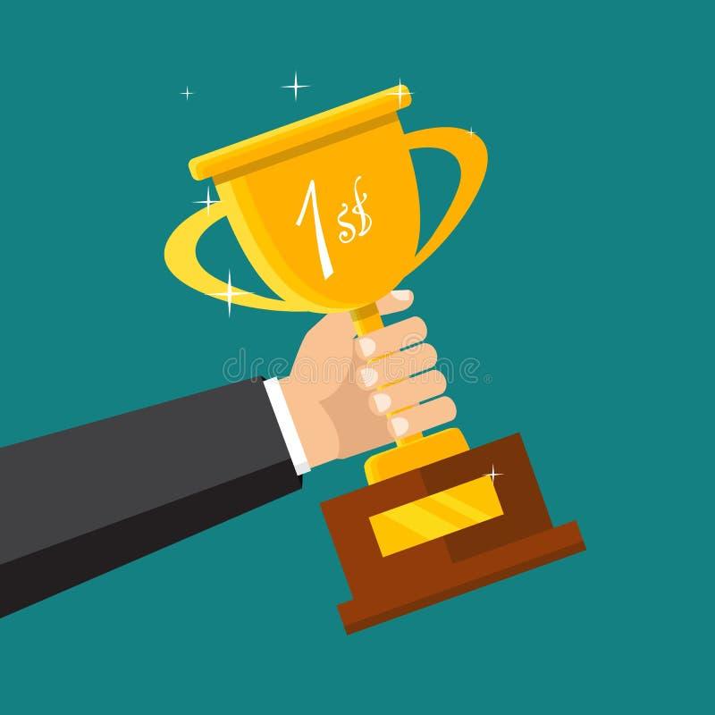 Symbol för mästaretrofélägenhet guld- vinnare för kopp Mästerskap och l stock illustrationer