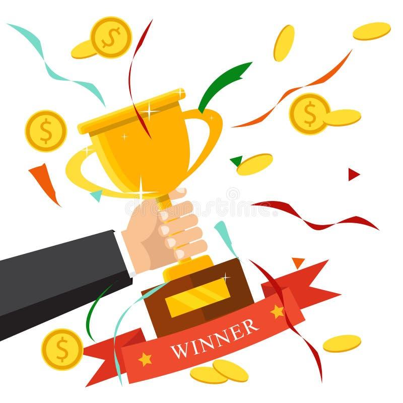 Symbol för mästaretrofélägenhet guld- vinnare för kopp Mästerskap och l royaltyfri illustrationer