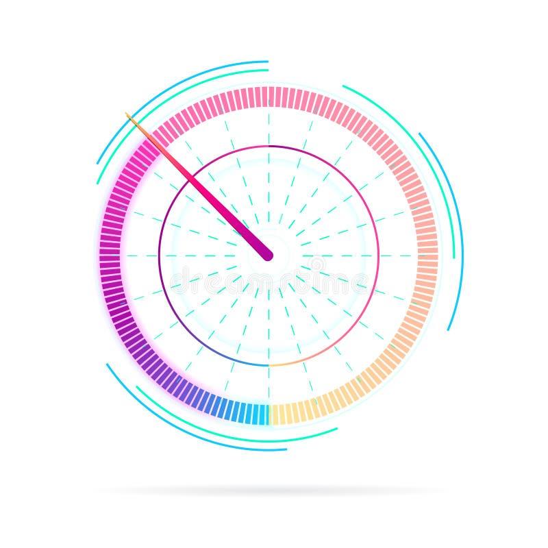 Symbol för mäta apparat, takometertecken, hastighetsmätare, bränsleindikator Krediteringsställning eller nyckel- kapacitet Hastig royaltyfri illustrationer