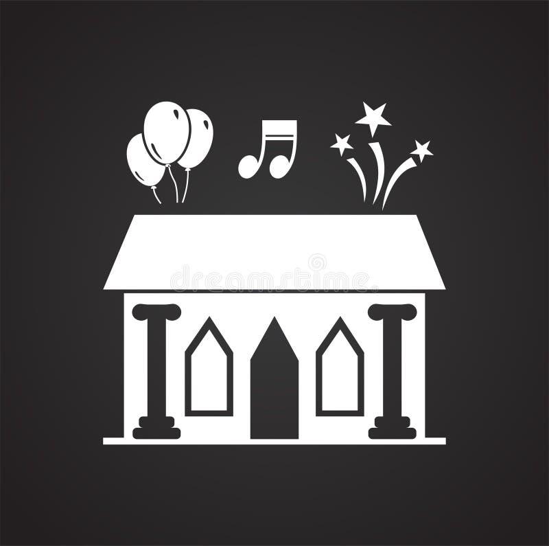 Symbol för mötesplats för bröllopceremoni på svart bakgrund för diagrammet och rengöringsdukdesignen, modernt enkelt vektortecken royaltyfri illustrationer