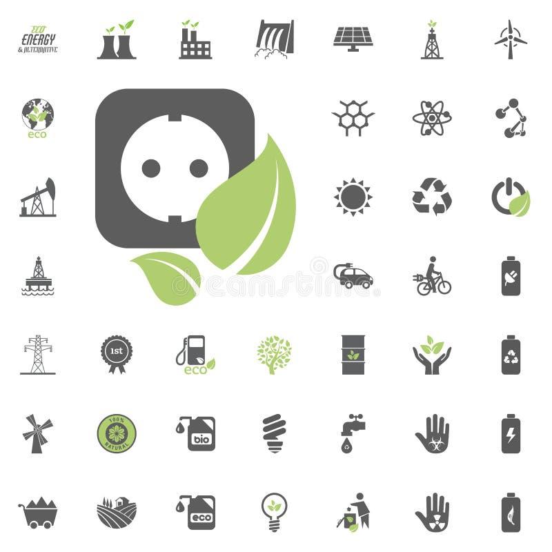 Symbol för makthålighet Uppsättning för Eco och för alternativ energi vektorsymbol Vektor för uppsättning för resurs för makt för royaltyfri illustrationer