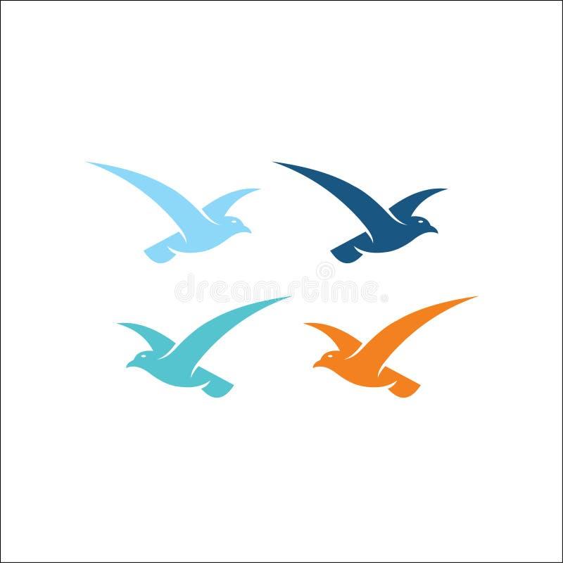 Symbol för mall för kolibrilogovektor vektor illustrationer
