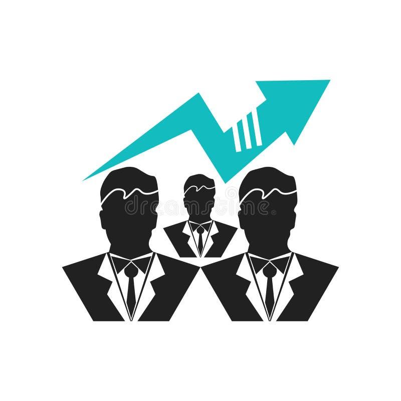 Symbol för manöverenhet för materieldataanalytics med affärsmän och för bakgrundssymbol för stänger det garphic tecknet för vekto vektor illustrationer