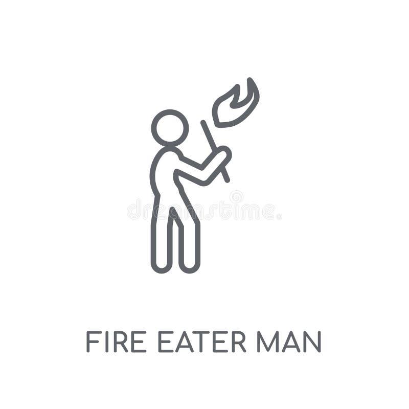 Symbol för man för brandätare linjär Modern logo c för man för översiktsbrandätare royaltyfri illustrationer