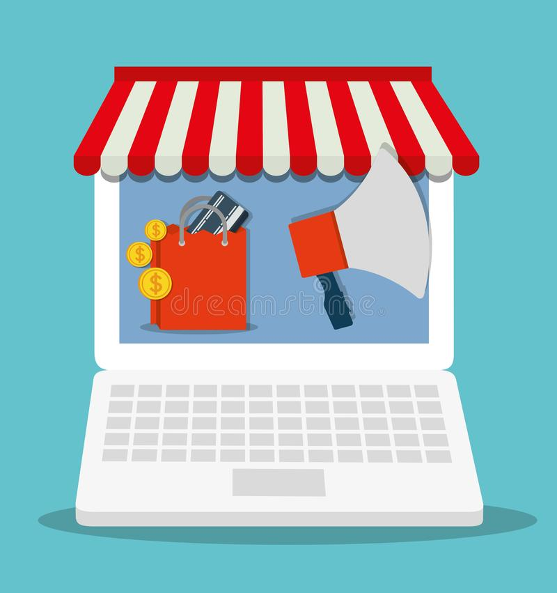 Symbol för marknad för lager för bärbar dator för shoppingpåse online- som stylized swirlvektorn för bakgrund det dekorativa diag royaltyfri illustrationer