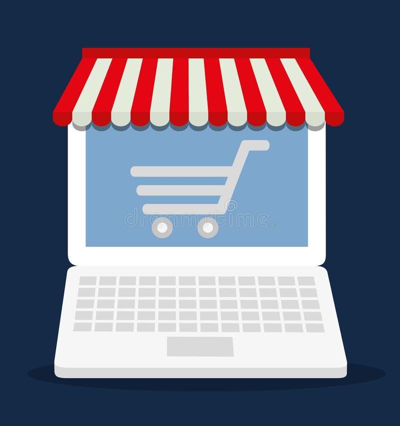 Symbol för marknad för lager för bärbar dator för shoppingvagn online- som stylized swirlvektorn för bakgrund det dekorativa diag stock illustrationer