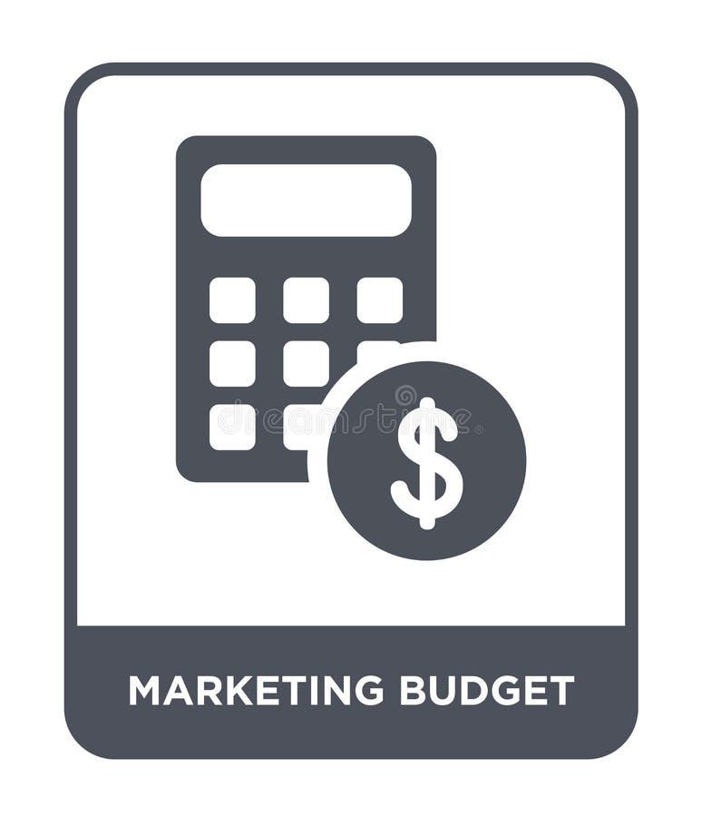 symbol för marknadsföringsbudget i moderiktig designstil symbol för marknadsföringsbudget som isoleras på vit bakgrund symbol för vektor illustrationer