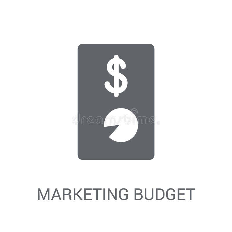 symbol för marknadsföringsbudget Moderiktigt logobegrepp för marknadsföra budget på w vektor illustrationer