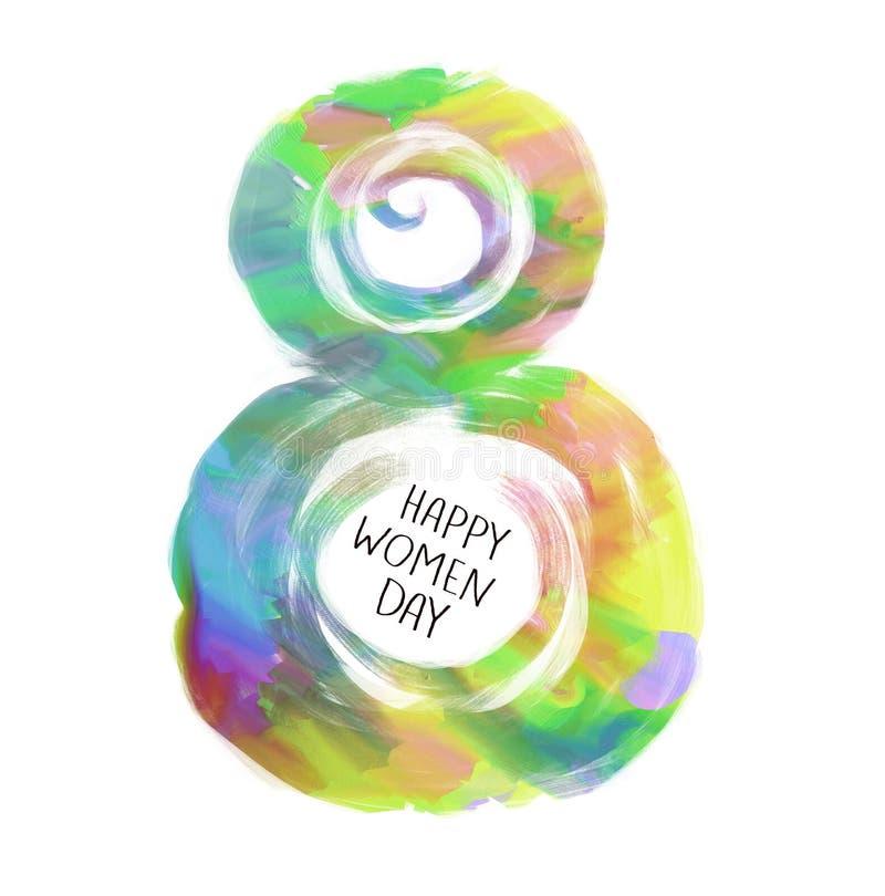 8 symbol för mars Diagram av åtta Lycklig kvinnas dagdesign Kan användas som ett dekorativ hälsningkort eller vykort för internat vektor illustrationer