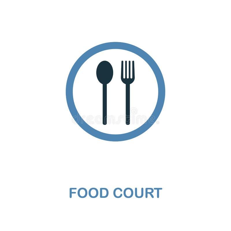 Symbol för matdomstol Monokrom stildesign från samling för köpcentrumteckensymbol Ui Perfekt enkel pictogram för PIXEL royaltyfri illustrationer