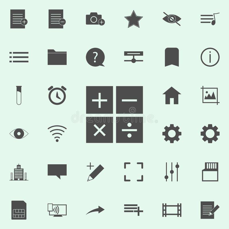 symbol för matematiskt tecken universell uppsättning för rengöringsduksymboler för rengöringsduk och mobil royaltyfri illustrationer