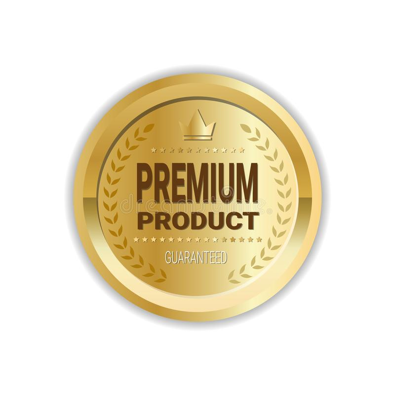 Symbol för medalj för högvärdig klistermärke för produkttecken högkvalitativ isolerad guld- vektor illustrationer