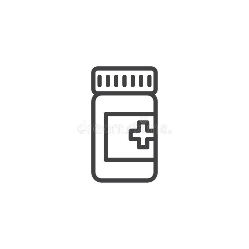 Symbol för medicinflasköversikt royaltyfri illustrationer