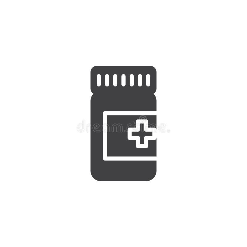 Symbol för medicinflaskvektor royaltyfri illustrationer