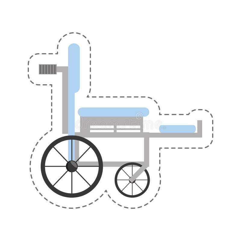symbol för medicinsk utrustning för tecknad filmrullstol royaltyfri illustrationer