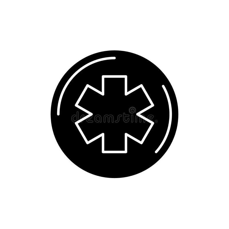 Symbol för medicinsymbolsvart, vektortecken på isolerad bakgrund Symbol för medicinsymbolbegrepp, illustration vektor illustrationer