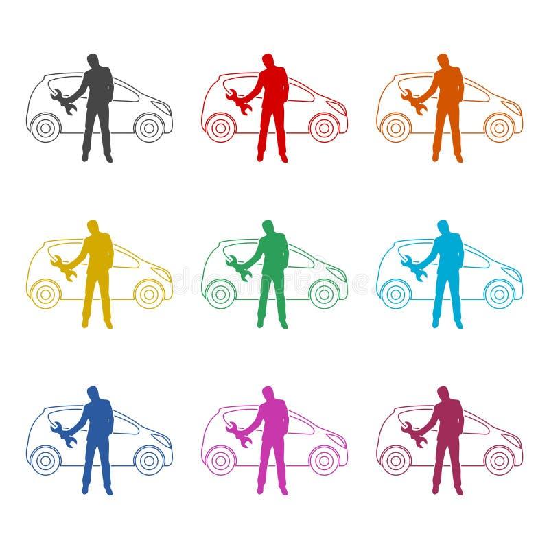 Symbol för mekaniker för seminarium för bilreparationsservice eller logo, färguppsättning royaltyfri illustrationer