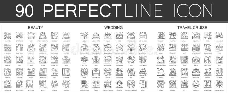 symbol för mini- begrepp för 90 översikt infographic av symboler skönhet, bröllop, loppkryssning royaltyfri illustrationer