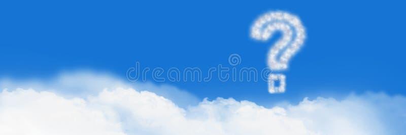 Symbol för moln för frågefläck med himmel royaltyfria foton