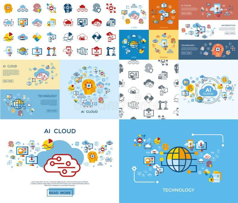 Symbol för moln för konstgjord intelligens för Digital vektor vektor illustrationer