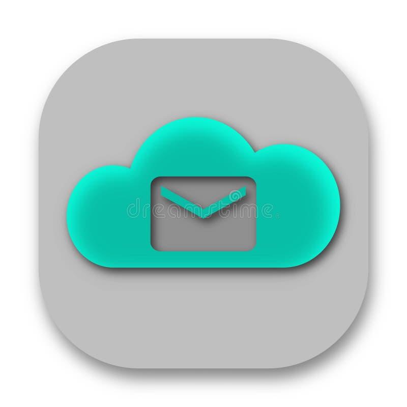 Symbol för molnpostApp med emailen vektor illustrationer