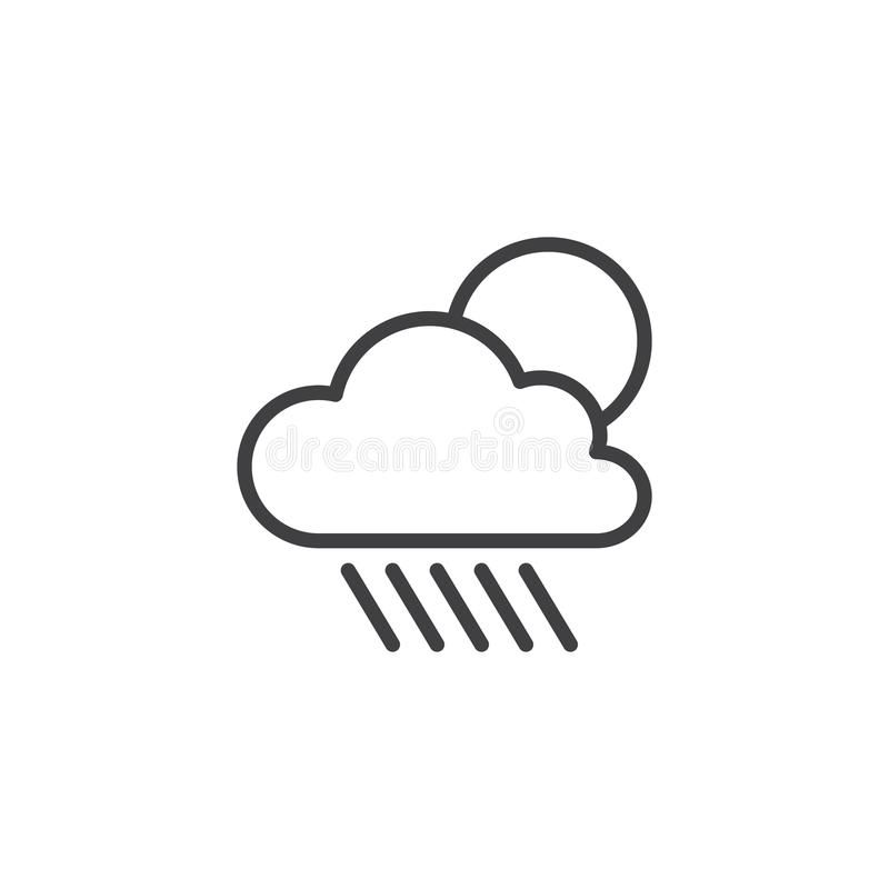 Symbol för molnregn- och solöversikt royaltyfri illustrationer