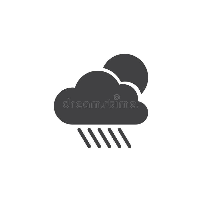 Symbol för molnregn- och solvektor vektor illustrationer
