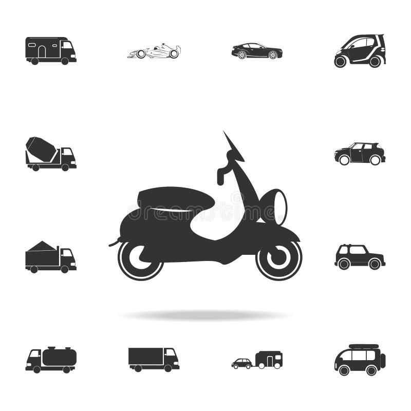 Symbol för motorisk sparkcykel Detaljerad uppsättning av transportsymboler Högvärdig kvalitets- grafisk design En av samlingssymb royaltyfri illustrationer