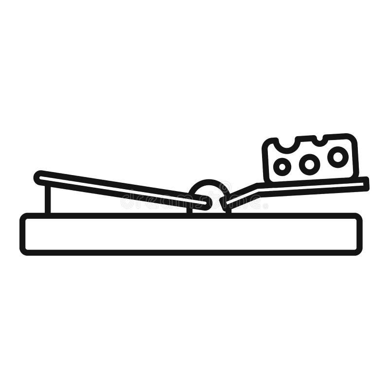 Symbol för musfällaost, översiktsstil stock illustrationer