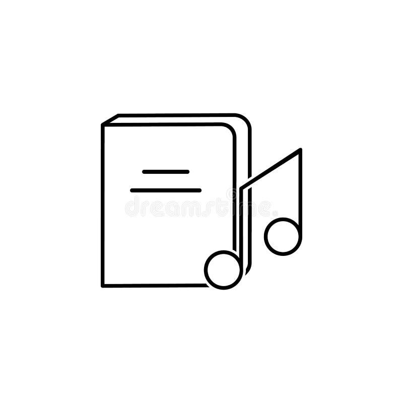 Symbol för musikbok Beståndsdel av kunskap för mobila begrepps- och rengöringsdukapps Tunn linje symbol för websitedesign och utv vektor illustrationer