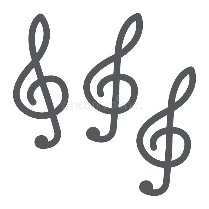 Symbol för musikklavskåra, musik och anmärkning, nyckel- tecken för musik, vektordiagram, en fast modell på en vit bakgrund stock illustrationer