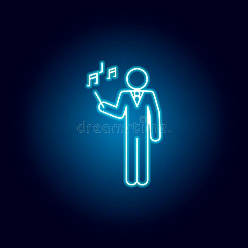 symbol för musiklärare i blå neonstil Pictogram f?r utbildningssymboltecken vektor illustrationer